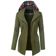 LE3NO Womens Fully Lined Anorak Parka Military Jacket with Plaid... ($34) ❤ liked on Polyvore featuring outerwear, jackets, military parka jacket, green anorak jacket, green plaid jacket, cotton field jacket and parka jacket