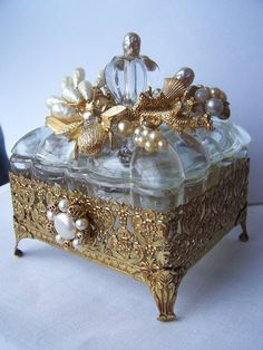 Ooak, Jewelry Encrusted Trinket Box, Ornate Jewel Box, Assembled Art Box, Bee…