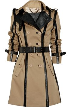 Burberry Prorsum upgrades one of spring's most popular coverups with its leather-trimmed light-olive twill trench coat. Very nice