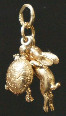 RARE Tortoise The Hare Rabbit Solid 14k Gold Estate Charm Pendant 2 Charms | eBay..