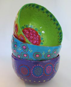 Paper Mache BOWLS bohemian colorful hippie boho by yimmekedesign, $62.00