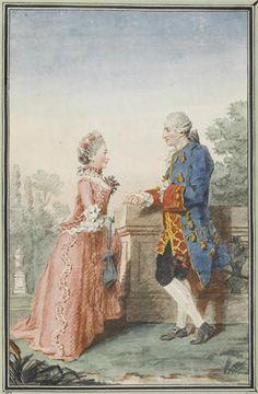 Mlle and Monsieur de Maupassannt, 1760 by Louis Caroggis Carmontelle (1717-1806)