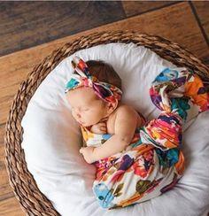 Olivia Mae Swaddle Blanket || Baby Blanket & Headband Set