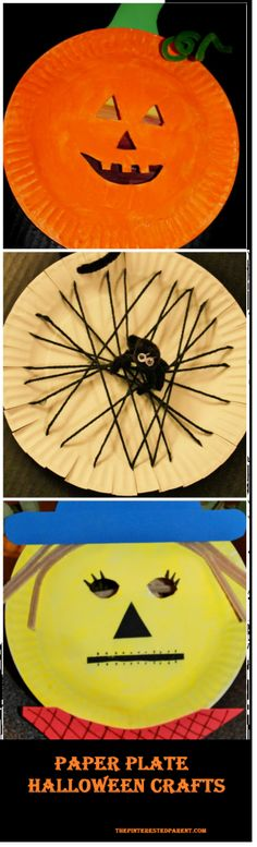 Paper plate Halloween arts & crafts for kids. Make a pumpkin, a spider, or a scarecrow - fall & autumn projects