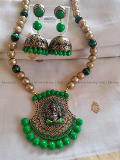 Long Ganesha Terracotta jewelry- Gold and neon greenTerracotta necklace set -Terracotta jewellery-color options available by NIRMITY on Etsy