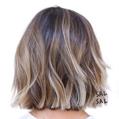 Choppy Wavy Brown Blonde Bob