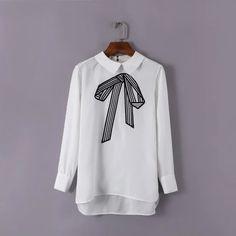 シャツ/ブラウス - 韓流ファッションリボン刺繍コットン開襟ゆったりシャツ