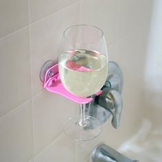 This bathtub wine glass holder is a serious shower upgrade