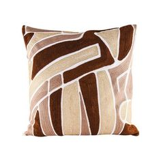 Brown Neutrals Pillow With Goose Down Insert - 8906-008