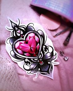 Tattoo design & Model Image Description #neo #traditional #girly #tattoo #design #red #black #crystal #diamond #heart #glitter #ink #drawing Do not copy my designs!