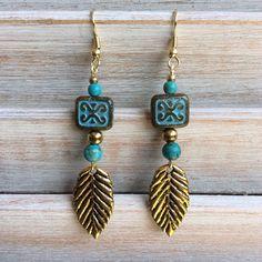 Leaf and turquoise drop earrings dangle earrings by rubybluejewels
