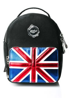 Shellys London Queen Cooper Mini Backpack will give yew da travel bug, bb. Explore yer world with this mini backpack that features a vegan leather construction, two zippered pockets, a flag design on the outer pocket, and clip-on shoulder straps.