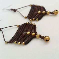Tribal Earrings/Macrame Earrings/Brass Bells/Deep Brown/Belly Dance earrings/Everyday Jewelry/Women/Pixie/Hippie/Bohemian/Ready to ship