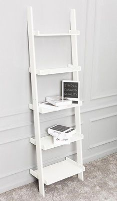 White Leaning Ladder Shelf with Five Tiers - Modern Display Shelving Unit, Bookc