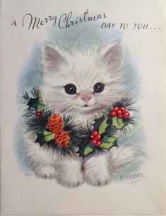 vintage Marjorie Cooper Christmas card; white kitten