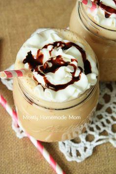 Mostly Homemade Mom: Chocolate Fudge Sundae Iced Coffee Cold Coffee Drinks, Iced Coffee, Chocolate Coffee, Chocolate Fudge, Delicious Desserts, Dessert Recipes, Drink Recipes, Yummy Recipes, Flan