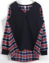 Royal Blue V Neck Contrast Striped Long Sleeve Sweatshirt