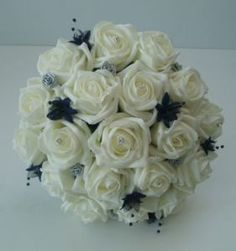 Artificial Roses Wedding Flowers Posy Bouquet in Ivory & Navy Blue & Silver