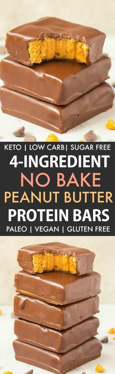 4-Ingredient No Bake Peanut Butter Protein Bars (Paleo, Vegan, Keto, Sugar Free, Gluten Free) - Easy, healthy and low carb bars using just 4 ingredients and needing 5 minutes. They taste like Reese's peanut butter cups and better than store bought! | Recipe on thebigmansworld.com