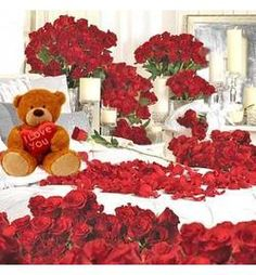 Room Full of Roses  (LOVERS PARADISE )  10 arrangements of Different size and Height and a 30 inches Teddy Bear, Total of 300 Roses used in them to give the room a Different look.