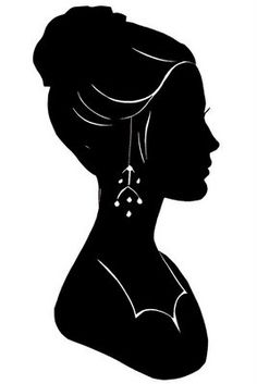 silhouette - use a white ink pen Portrait Silhouette, Silhouette Cameo, Kids Silhouette, Black Silhouette, Woman Silhouette, Wc Icon, Pop Art Bilder, Digi Stamps, Digital Image