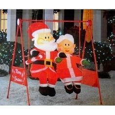 Mrs. Claus Porch Swing Animated Christmas Inflatable: Home