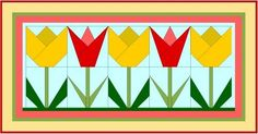 Tulip bud and flower vintage quilt block. Paper pieced template can be downloaded from the website.