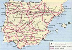 Calzadas y ciudades romanas en Hispania Spain History, European History, World History, Map Of Spain, Roman Names, Roman Roads, Iberian Peninsula, Visit Portugal, Prehistory