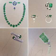 Sketches of Van Cleef & Arpels new high jewellery collection Émeraude en Majesté #vancleefarpels #emeraudeenmajeste #highjewellery