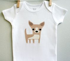 Baby clothes, chihuahua. Long or short sleeve. Your choice of size. by squarepaisleydesign on Etsy