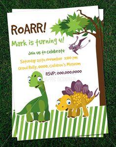 Custom Printable Dinosaur Party Birthday Invitation Template