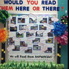 Dr.Seuss! The bulletin board my students and I made for Dr. Seuss' Birthday! With the captions are pictures of the children reading in different places throughout our school.