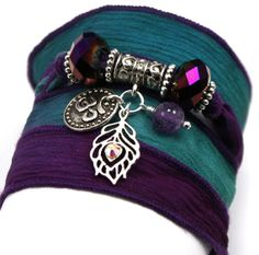 Royal Peacock Silk Wrap Yoga Boho Bracelet with by anjalicreations, $42.00  Cool Idea VIKKI