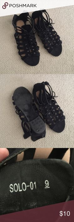 Lace Up Sandals Cute black lace ups with some pilling in the back of where your foot would be but wouldn't be seen when worn. Refresh Shoes Sandals