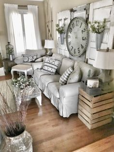 80 elegant modern farmhouse living room decor ideas and makeover that you must see 65 Modern Farmhouse Living Room Decor Elegant Farmhouse ideas living Makeover Modern room Living Room Clocks, My Living Room, Home Interior, Interior Design Living Room, Living Room Furniture, Rustic Furniture, Sectional Furniture, Furniture Storage, Furniture Outlet
