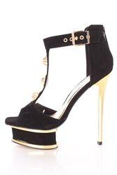 Alba Adela Black Beaded T Strap Platform Heels Faux Suede