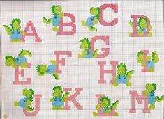 Cross stitch alphabet with green dinosaurs (1)