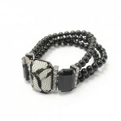 $3.40 Hot Sale Lace Black Gemstone Women's Multi-Layered Strand Bracelet