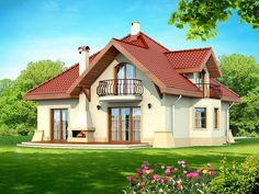 DN Karen is a house with an attic, basement with garage single user in a block building. The project is. Building A Small Cabin, Home Building Design, Building A House, Family House Plans, Dream House Plans, Kerala House Design, Modern House Design, Beautiful Home Designs, Beautiful Homes