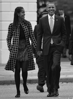 Malia Obama with President Barack Obama. SHE has grown to be almost as tall as he is but she gets it honestly