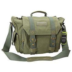 60ed3f43e7 Evecase DSLR Large Canvas Camera and Laptop Case Messenger Bag w Rain Cover  – Olive