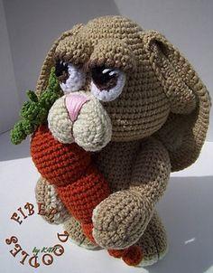 SCLPT - Benton the Bunny - $6.20 by K4tt of Fiber Doodles | Bunny Rabbits Part 3 - Animal Crochet Pattern Round Up - Rebeckah's Treasures