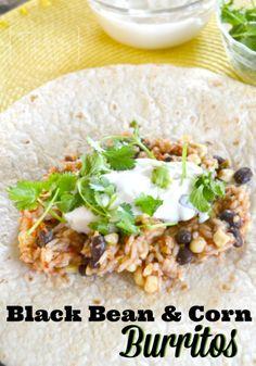 Freezer Meal Recipes: Black Bean and Corn Burritos
