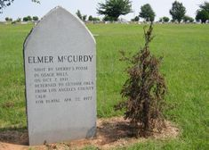 Elmer McCurdy's grave in Summit View Cemetary, Guthrie, Oklahoma. He was buried there after his body spent 60 years travelling the country appearing in carnivals, haunted houses, and wax museums before finally ending up in a museum-park in Long Beach, California. It was discovered there after being mistaken for a mannequin during the filming of The Six Million Dollar Man TV series in 1977.