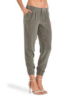 Heels and silk jogger pants