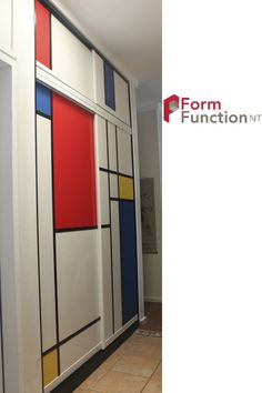 Mondrian Sliding Doors used to brighten up the hallway.  We have also put in a small set of sliding doors above to work in with existing carpentry.