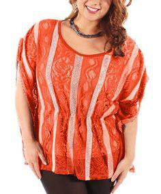 Loving this Orange Stripe Lace Top - Plus on #zulily! #zulilyfinds