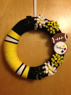 nfl craft ideas pittsburg steelers clothespin wreath on etsy 35 00 2555