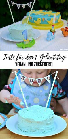 Geburtstagstorte für den 1. Geburtstag - vegan und haushaltszuckerfrei. Birthdaycake, refinedsugarfree, vegane Torte, Kleinkind, erster Geburtstag, Wilton Lebensmittelfarbe