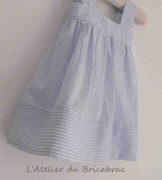 Tuto facile pour petite robe printanière à rayures en coton